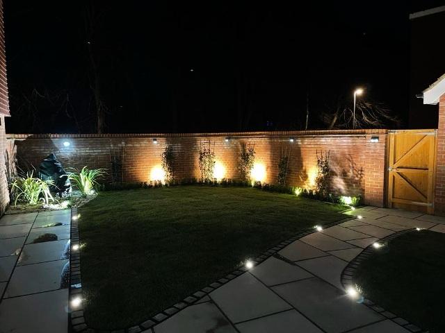 Stevenage garden transformation After with lighting
